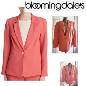 Bloomingdale's Coral silk & linen blazer. Sz 16